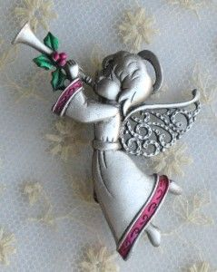vintage jj pewter enamel cristmas angel brooch pin