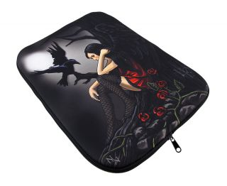 Dark Gothic Angel and Raven Neoprene Tablet Sleeve