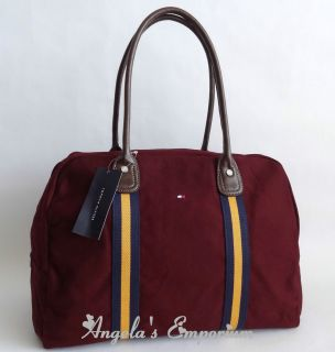 Tommy Hilfiger Davis Canvas Large Travel Tote Bag Maroon