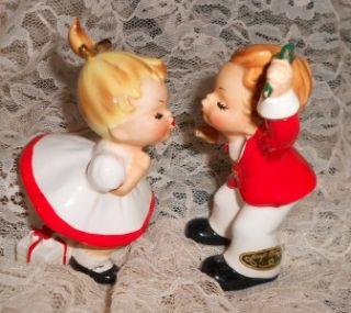 Vtg Pair 2 Josef Christmas Figures Boy Girl Mistletoe Bloomer