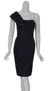 Angel Sanchez Black Draped One Shoulder Cocktail Evening Dress 12 New