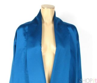 Vtg 1980s Andrea Jovine Blue Evening Coat Wrap Jacket 2