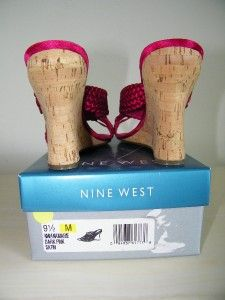 Nine West Anamarie Hot Pink Satin Womens Sandals Shoes 9 1 2 M Wedge