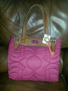 New Fossil Key Per Raspberry Tote Shopper Handbag