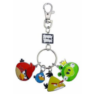 Angry Birds   Metal Keychain with Charms   RED, BLUE, YELLOW & KING