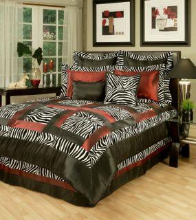 Piece Designer Black/White/Red Animal Print Comforter Set   Queen King