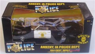 1964 Chevy Impala Ankeny IA Police Department Ertl 1 18 Le Diecast Car