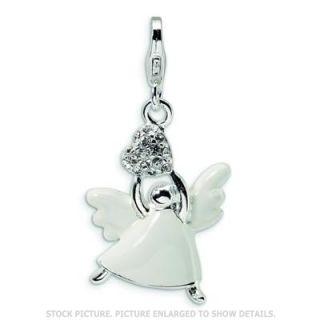 La Vita Sterling Silver Enameled Swarovski Crystal Angel Charm
