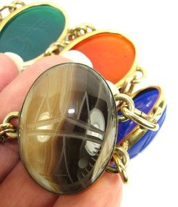 Vintage w E Richards Co 12K G F Scarab Bracelet with Jumbo Huge 30mm