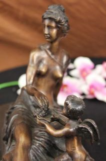 Signed Auguste Moreau Cherub Angel Bronze Sculpture Statue Figurine