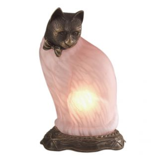 Andrea by Sadek Cat Figurine Brass Glass Accent Table Lamp Night Light