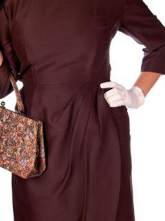 Vintage Lilli Ann Dress Brown Silk Draped Asymetrically 40 30 43