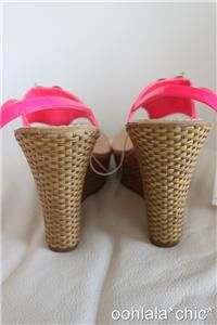 Miss Trish Capri Target Pink Daisy Flower Wedge Sandals