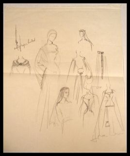 Original 1954 Costume Sketch Angela Lansbury The Court Jester