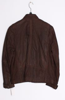 Andrew Marc Mens Duke Brown Distressed Leather Motorcycle Jacket