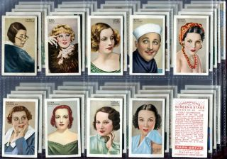 Tobacco Card Set Gallaher Champions of Screen Stage Film Stars 1934