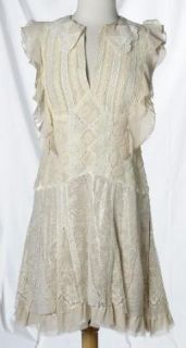 Anna Sui Lace Shimmer Soft Pink Ivory Feminine Bohemian Dress Textural