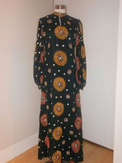vintage anne fogarty boho mod print maxi dress vtg