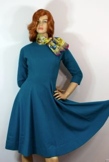 Vtg 1950s Turquoise Wool Anne Fogarty Classy Fit Flare Full Sweep