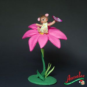 Annalee Primitive Doll Spring 3 inch Mouse in Flower Butterfly ★ New