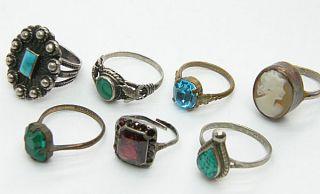 Great Lot of 8 Antique Deco Vintage Silver Rolled Gold Gem Set Rings