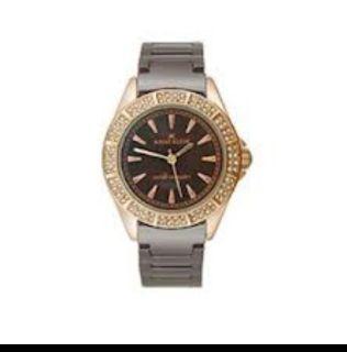 ANNE KLEIN Womens Brown Rose Gold Tone CERAMIC WRIST WATCH Bracelet