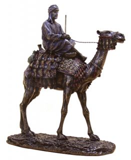 Egyptian Man Riding Camel Bronze Statue Figurine