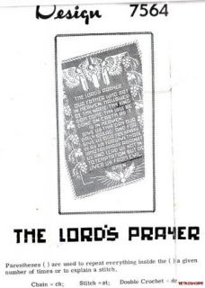 Vintage ORIGINAL Filet Crochet Pattern The Lords Prayer Panel # 7082