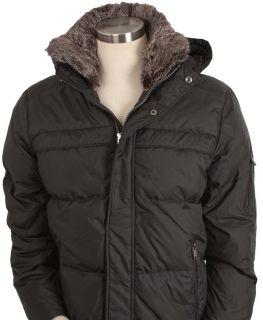 Andrew Marc Mens Union Cloud Bomber Down Jacket Fur Black Medium New