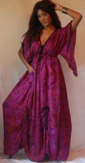 Z812S Purple Dress Caftan Plus 3X 4X 5X Ruching Asym Ties Lotustraders