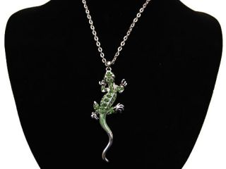 Painted Rhinestone Crystal Long Anole Lizard Pendant Necklace