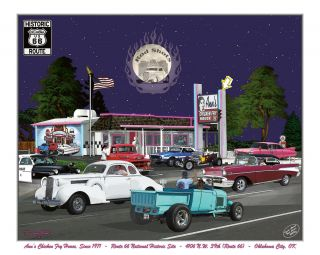 Nostalgia Art Anns Chicken Fry House Route 66 Hot Rod Street Art