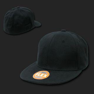18 Black Fitted Flat Bill Flex Caps Hats Lot s M L XL