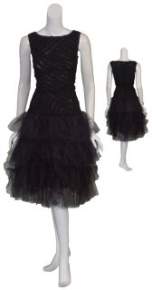 Angel Sanchez Black Feather Beaded Dress 8 $3690 New