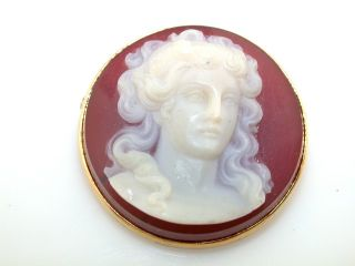 Victorian Antique Hard Stone Cameo 14kt Yellow Gold Pin