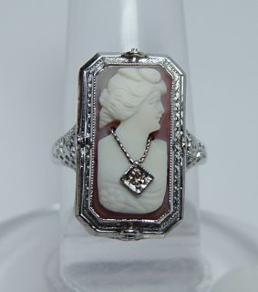 Antique Cameo Onyx Diamond Filigree Flip Style Ring 14k White Gold