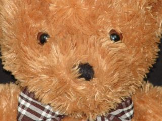 Big Golden Brown Gingham Bow Animal Alley Teddy Bear Plush Stuffed