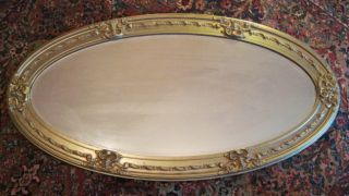 Antique Gold Gesso Oval Beveled Mirror Ornate Gilt Wood