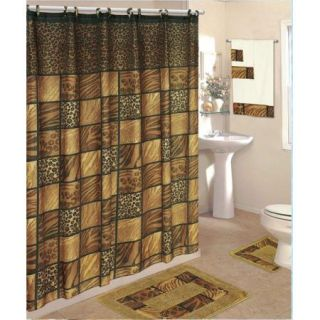 18 piec Bath Rug Set Brown Leopard Animal Print Rugs Shower Curtain