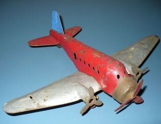 VINTAGE MARX PRESSED STEEL TOY AIRPLANE METAL STAMPED PLANE PROP