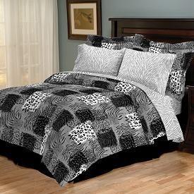 white reversible zebra leopard print comforter sheets bedding set new