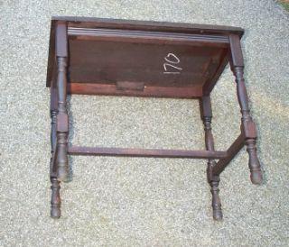 Antique Victorian Mahogany & Oak Wood Vanity Piano Bench   FINE