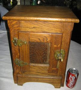 ANTIQUE PRIMITIVE COUNTRY KITCHEN WOOD ICE BOX STAND CABINET ART
