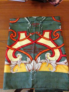 Hermes Par Mefsire Antoine De Plvvinel Green Gold Silk Scarf