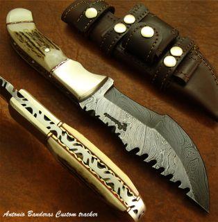 Antonio Banderas 1 of A Kind Custom Bushcraft Damascus Tracker Knife