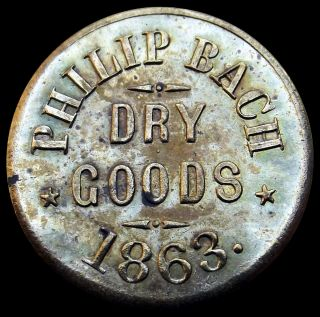 War store card token Philip Bach Dry Goods Ann Arbor Michigan brass R6