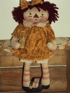 Primitive Raggedy Ann Pumpkin Patch Rag Doll Annie