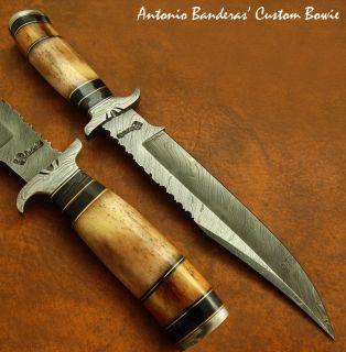 Antonio Banderas 1 OF A KIND CUSTOM DAMASCUS BOWIE KNIFE FOSSIL