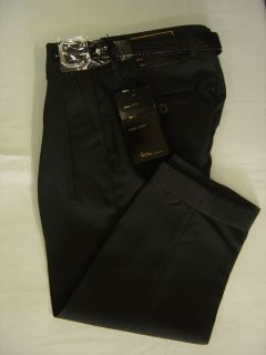 Boys Charcoal Fancy Pleated Dress Pant with Belt New Sizes 4 to 18