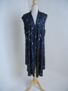 Ann DEMEULEMEESTER Iridescent Black Sequin Long Asymmetrical Vest